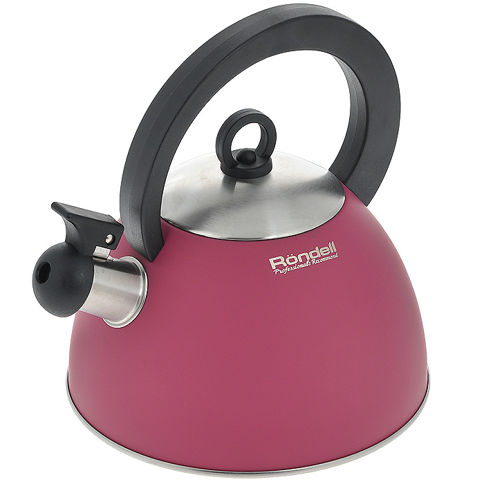 Чайник Rondell Geste, со свистком, 2 лRDS-361Чайник Rondell Geste изготовлен из высококачественной нержавеющей стали 18/10, благодаря чему не подвержен коррозии, устойчив к органическим кислотам, долговечен и прост в уходе. Капсулированное дно чайника способствует быстрому закипанию воды даже при небольшой мощности конфорок. Стильное водно-силиконовое покрытие красного цвета легко в уходе и обеспечивает безупречный внешний вид. Прочная бакелитовая ручка делает использование чайника очень удобным и безопасным. Наличие свистка позволяет следить за кипением чайника. Свисток снабжен стальной сердцевиной и устройством для открывания носика.Чайник подходит для использования на всех видах плит, включая индукционные. Нельзя мыть в посудомоечной машине. Характеристики:Материал: нержавеющая сталь 18/10, бакелит. Объем: 2 л. Цвет: красный.Диаметр основания чайника: 20 см. Высота чайника (без учета ручки и крышки): 12 см. Посуда Rondell совсем недавно появилась на российском рынке, но уже прекрасно себязарекомендовала. Эту посуду по достоинству оценили тысячи любителей кулинарии, арекомендации профессионалов - шеф-поваров многих ресторанов и ведущих популярныхкулинарных программ служат дополнительным весомым аргументом в ее пользу.Профессиональные технологии, изысканный дизайн и широкий ассортимент делают посудуRondell исключительно привлекательной для всех, кто любит и умеет готовить.