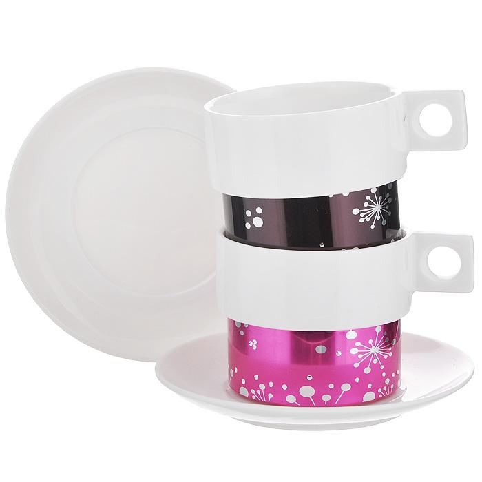 Кофейный набор Amber Porcelain, 4 предмета, 150 мл. 214173214173Кофейный набор Amber Porcelain состоит из 2 чашек и 2 блюдец, изготовленных из высококачественного фарфора и оформленных орнаментом и стразами. Яркий дизайн, несомненно, придется вам по вкусу. Кофейный набор Amber Porcelain украсит ваш кухонный стол, а также станет замечательным подарком к любому празднику. Характеристики:Материал: фарфор. Диаметр чашки по верхнему краю: 7 см. Высота чашки: 5,5 см. Диаметр блюдца: 12 см.