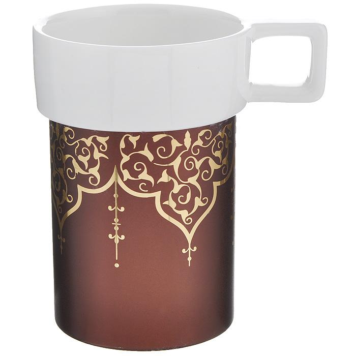 Кружка Amber Porcelain Орнамент, цвет: белый, коричневый, 220 мл214176Кружка Amber Porcelain Орнамент, выполненная из фарфора, имеет оригинальную форму и яркий дизайн. Дноизделия оснащено силиконовой накладкой.Такая кружка порадует васдизайном и функциональностью, а пить чай или кофе из нее станет ещеприятнее.