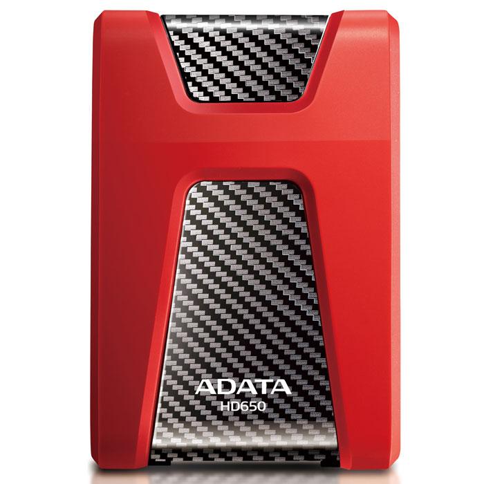ADATA HD650 1TB USB3.0, Red внешний жесткий дискAHD650-1TU3-CRDВнешний накопитель ADATA HD650, сочетающий в себе современные материалы и опыт высокоточного конструирования, характеризуется повышенной конструктивной прочностью и обеспечивает высокую безопасность данных. Трехслойная конструкция корпуса HD650 включает уникальный, исключительно упругий резиновый материал, который амортизирует самые сильные удары, направленные по любой оси корпуса. Сам корпус изготовлен из прочного композитного пластика, сверх-устойчивого к царапинам и повреждениям. Накопитель имеет интерфейс USB 3.0 для сверхскоростной передачи данных и лазурные светодиодные индикаторы питания и состояния передачи. Стильный, привлекательный накопитель с плавными контурами и поразительными цветами корпуса - прекрасное средство хранения ваших бесценных файлов, разработанное специально для активных и подвижных людей.
