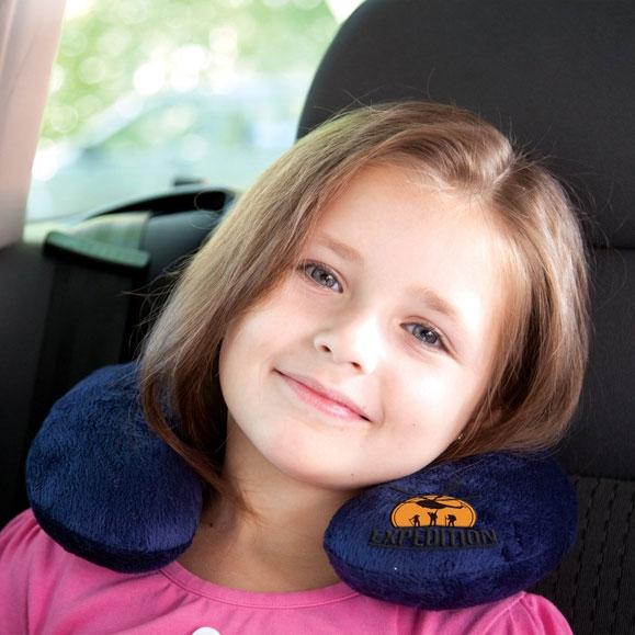 Детская подушка-подголовник Экспедиция, цвет:  синий Экспедиция