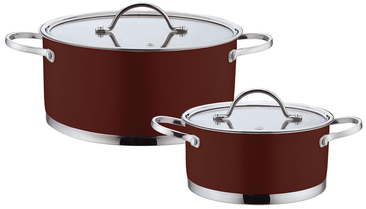 Набор посуды Bohmann, цвет: коричневый, 4 предметов. 0414BH0414BHNEWНабор Bohmann состоит из 2 кастрюль разного объема с крышками. Изделия выполненыиз высококачественной нержавеющей стали. Прочность, долговечность и надежностьэтого материала, а так же первоклассная обработка изделий обеспечивают практическинеограниченный запас прочности и неизменно привлекательный внешний вид посуды. Внешнее цветное покрытие придает посуде особо эстетичный внешний вид.Идеально ровная внутренняя поверхность значительно облегчает мытье.Кастрюли имеют многослойное капсульное дно с алюминиевым основанием, котороебыстро и равномерно накапливает тепло и так же равномерно передает его пище.Капсульное дно позволяет готовить блюда с минимальным количеством воды и жира,сохраняя при этом вкусовые и питательные свойства продуктов. Применение технологиимногослойного дна создает эффект удержания тепла - пища готовится и после отключенияплиты благодаря термоаккумулирующим свойствам посуды. Внутренние стенкиимеют отметки литража. Изделия оснащены ненагревающимися ручками изнержавеющей стали.Крышки, изготовленные из термостойкого стекла, оснащены отверстием для выхода параи стальным ободом. Такие крышки позволяют следить за процессом приготовления пищибез потери тепла. Благодаря особенному дизайну крышки, пар, образующийся в процессе приготовления,собирается в центре крышки и, конденсируясь, капает на дно кастрюли. Крышка и ободкастрюли имеют такую форму, что между ними образуется водное кольцо,предотвращающее испарение влаги и потерю вкусовых свойств продуктов.Диаметры кастрюль соответствуют общепринятым размерам конфорок бытовых плит.Посуда подходит для использования на всех типах плит, включая индукционные. Такжеизделия можно мыть в посудомоечной машине и хранить в холодильнике.