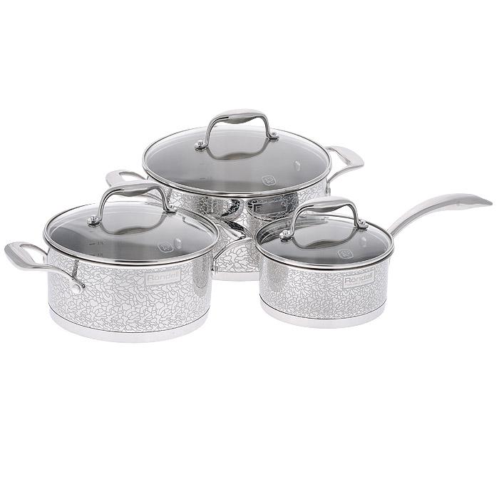 """Набор посуды Rondell """"Vintage"""" состоит из 2 кастрюль с крышками и ковша с крышкой. Посуда изготовлена из высококачественной нержавеющей стали 18/10, что гарантирует безупречный внешний вид посуды, практичность и долговечность. Уникальный 2-х этапный метод технологии """"тройного"""" дна с вштампованным, а затем вплавленным алюминиевым диском позволяет равномерно распределять и значительно дольше сохранять тепло в стенках и дне посуды, что предотвращает пригорание пищи и обеспечивает более быстрое приготовление блюд. Посуда продолжает готовить даже после выключения плиты!  Внешние стенки посуды оформлены деколью с эффектом крокелюра.  Посуда оснащена ненагревающимися клепаными ручками из нержавеющей стали.  Крышки, выполненные из термостойкого стекла, позволяют контролировать процесс приготовления без потери тепла. Аккумуляция тепла при закрытой крышке создает замкнутый цикл парообразования, позволяя готовить в такой посуде без использования масла и воды или же с их минимальным количеством, что позволяет сохранить натуральный вкус продуктов.  С отметками литража на внутренних стенках посуды вы легко сможете соблюдать пропорции рецептуры без применения дополнительных предметов. Изысканный дизайн и функциональность набора Rondell """"Vintage"""" создаст на вашей кухне неповторимый стиль и позволит вам наслаждаться процессом приготовления любимых, полезных для здоровья блюд.     Подходит для использования на всех видах плит, включая индукционные. Не рекомендуется мыть в посудомоечной машине.   Характеристики:  Материал: нержавеющая сталь 18/10, стекло. Объем кастрюль: 3 л, 5 л. Внутренний диаметр кастрюль: 20 см, 24 см. Высота стенок кастрюль: 10 см, 12 см. Ширина кастрюль с учетом ручек: 31 см, 35,5 см. Диаметр основания кастрюль: 19,5 см, 23,5 см. Объем ковша: 1,5 л. Внутренний диаметр ковша: 16 см. Высота стенок ковша: 8 см. Длина ручки ковша: 18,5 см. Диаметр основания ковша: 15,5 см. Толщина стенок посуды: 0,7 мм. Толщина дна посуды: 5 мм.    УВАЖАЕМЫЕ КЛИЕНТЫ!   Обращаем ваше"""