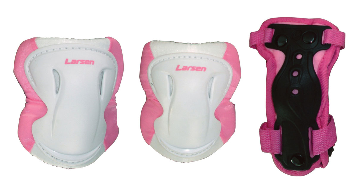 Защита роликовая Larsen Pink, цвет: белый, розовый. Размер L