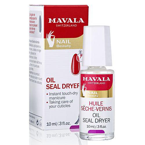 Mavala Сушка-фиксатор лака с маслом Oil Seal Dryer, 10 мл14-616Сушка-фиксатор лака с маслом Mavala Oil Seal Dryer обеспечивает моментальное высыхание лака и одновременно ухаживает за кутикулой, делая ее мягкой и эластичной. Придает маникюру неповторимый глянец и насыщенность, а кутикуле аккуратный вид, как будто вы только что посетили профессиональный салон. Содержит уникальные ингредиенты защищающие лак от сколов и трещин, не оставляет липкий слой на поверхности ногтей и создает прочное эластичное покрытие. Хлопковое масло, входящее в состав фиксатора, обладает регенерирующими и смягчающими свойствами. Оно ухаживает за кутикулой, питает и увлажняет ее. Регулярное применение сушки-фиксатора позволит вам сэкономить время на маникюр и обеспечит великолепный уход за кутикулой. Характеристики:Объем: 10 мл. Производитель: Швейцария. Товар сертифицирован. Как ухаживать за ногтями: советы эксперта. Статья OZON Гид