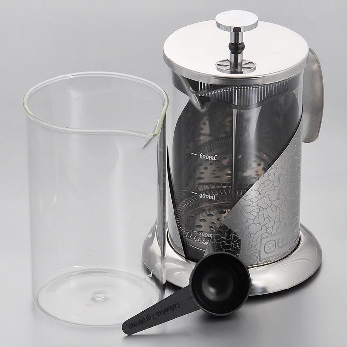 Френч-пресс Rondell Vintage, с ложечкой, 800 мл + запасная колбаRDS-365Френч-пресс Rondell Vintage выполнен из высококачественной пищевой нержавеющей стали с зеркальной полировкой и жаропрочного стекла. Жаропрочное стекло может выдерживать температуру до 180°С. Фильтр-поршень из нержавеющей стали обеспечивает равномерную циркуляцию воды и насыщенность напитка. С его помощью также можно регулировать степень крепости чая. Колба имеет отметки литража, что позволяет соблюдать рецептуру без дополнительных предметов. Френч-пресс оснащен теплосберегающей крышкой и удобной ненагревающейся ручкой. Основание френч-пресса снабжено нескользящей силиконовой вставкой.Особый шик и привлекательность придает эксклюзивный изысканный дизайн, не похожий на другие - рисунок в виде кракелюра.В комплект входит пластиковая мерная ложечка, сменная колба для удобства заваривания разных видов напитков и буклет с рецептами оригинальных напитков из чая и кофе.Френч-пресс Rondell Vintage позволит быстро и просто приготовить свежий и ароматный кофе или чай.В посудомоечной машине можно мыть только колбу. Характеристики:Материал: нержавеющая сталь 18/10, стекло, пластик, силикон. Объем: 800 мл. Диаметр колбы по верхнему краю: 10 см. Высота стенки колбы: 15 см. Диаметр основания френч-пресса: 13 см. Высота френч-пресса (с учетом крышки): 19 см. Длина ложечки: 10 см. Посуда Rondell совсем недавно появилась на российском рынке, но уже прекрасно себязарекомендовала. Эту посуду по достоинству оценили тысячи любителей кулинарии, арекомендации профессионалов - шеф-поваров многих ресторанов и ведущих популярныхкулинарных программ служат дополнительным весомым аргументом в ее пользу.Профессиональные технологии, изысканный дизайн и широкий ассортимент делают посудуRondell исключительно привлекательной для всех, кто любит и умеет готовить.
