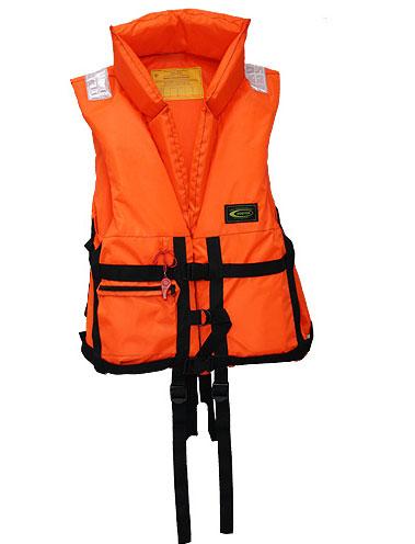 Жилет спасательный Vostok ПР с воротником, цвет: оранжевый, размер 44-48, вес до 60 кгVPR-060Спасательный жилет из ткани сигнальной расцветки оранжевого цвета предназначен для использования в качестве индивидуального спасательного средства для человека при падении за борт, при занятиях водными видами спорта, туризма на гребных, парусных и моторных судах. Светоотражающие полосы способствуют обнаружению в темноте. Позволяет поддерживать человека на плаву долгое время. Плавающий наполнитель НПЭ.Особенности модели:Плавающий воротник-стойка для поддержания головы;Накладной карман на замке;Боковые стяжки и паховые ремни для подгона жилета по фигуре;Свисток для вызова спасателей;Светоотражающие нашивки безопасности.