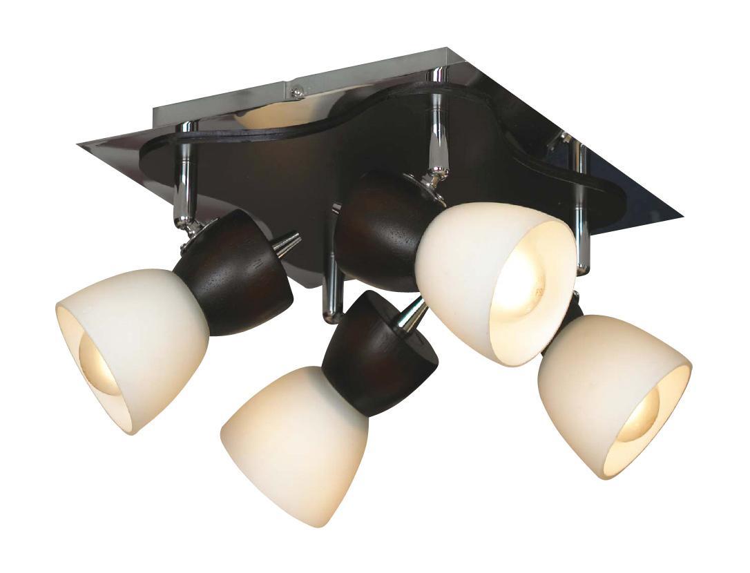 Настенно-потолочный светильник Lussole Messina LSL-8201 04LSL-8201-04Споты – это один или несколько светильников, расположенных на одном основании, и свободно крепящиеся не только на потолок, но и на стену. Главная особенность спотов в том, что они могут поворачиваться относительно своего основания в разные стороны, обеспечивая более эффективное и целенаправленное освещение различных зон. Споты позволяют создать «зональное» освещение разных частей комнаты. Настенные и потолочные споты на кухне одновременно хорошо осветят и зону приготовления пищи, и обеденную зону.