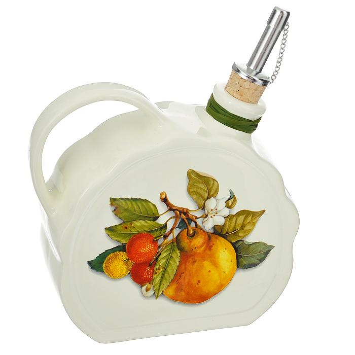 Бутылка для масла Nuova Cer Итальянские фрукты, 550 млNC7386-CEM-ALБутылка для масла Nuova Cer выполнена из высококачественной керамики и оформлена изображением фруктов. Емкость оснащена удобной ручкой и пробкой с металлическим разбрызгивателем. Бутылка легка в использовании, стоит только перевернуть ее, и вы с легкостью сможете добавить оливковое или подсолнечное масло по своему вкусу.Оригинальная емкость будет отлично смотреться на вашей кухне. Характеристики:Материал: керамика, пробка, металл. Объем бутылки: 550 мл. Размер бутылки (без учета носика и ручки): 14 см х 12,5 см х 6,5 см.