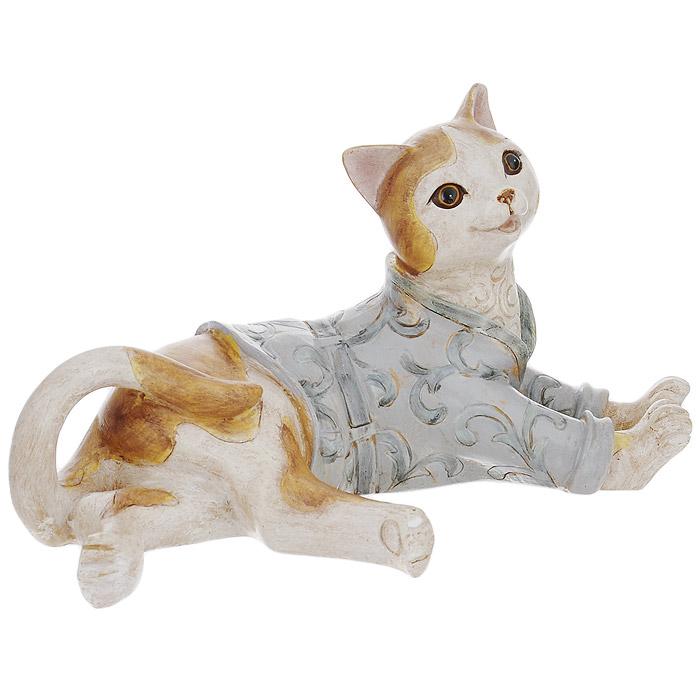 Статуэтка декоративная Кот, высота 12 см. 3385233852Декоративная статуэтка Кот изготовлена из полирезины. Такая фигурка подойдет для декора интерьера дома или офиса. Вы можете поставить фигурку в любом месте, где она будет удачно смотреться и радовать глаз. Кроме того - это отличный вариант подарка для ваших близких и друзей. Характеристики: Материал: полирезина. Цвет: коричневый, серый. Размер фигурки (ДхШхВ): 24 см х 13 см х 12.