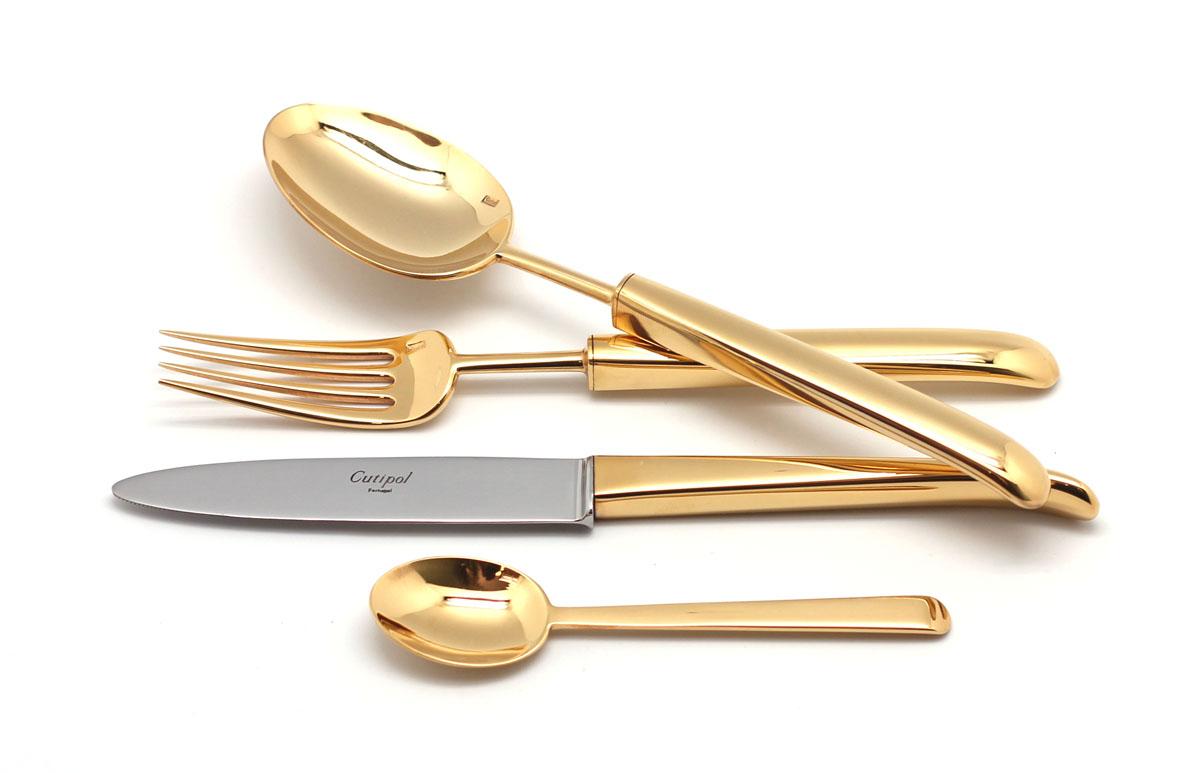 Набор столовых приборов Cutipol Carre Gold, цвет: золотой, 72 предмета. 9131-729131-72Набор столовых приборов Carre Gold от компании Cutipol. Набор выполнен из сплава нержавеющей стали 18% хрома и 10% никеля с покрытием из золота. Позолоченные приборы подчеркнут ваш стиль и аристократический вкус. Эти стильные столовые приборы станут настоящей изюминкой в сервировке вашего стола. Красивые вилки, ложки, ножи и другие приборы, представленные в наборе, оформлены в современном стиле. Любой обед станет настоящим торжеством, если на столе будут эти изящные, со вкусом выполненные приборы. Толщина приборов - 3.5 мм. Можно мыть в посудомоечной машине.В набор входит:-ложки столовые - 12 шт;-вилки столовые - 12 шт;-ножи столовые - 12 шт;-вилка десертная - 12 шт;-ложка чайная - 12 шт;-ложка сервировочная - 1 шт;-ложка для сахара - 1 шт;-вилка для мяса - 1 шт;-нож для мяса - 1 шт;-лопатка для торта - 1 шт;-набор для салата - 2 шт;-нож для масла - 2 шт;-нож для сыра - 2 шт;-ложка разливная - 1 шт.