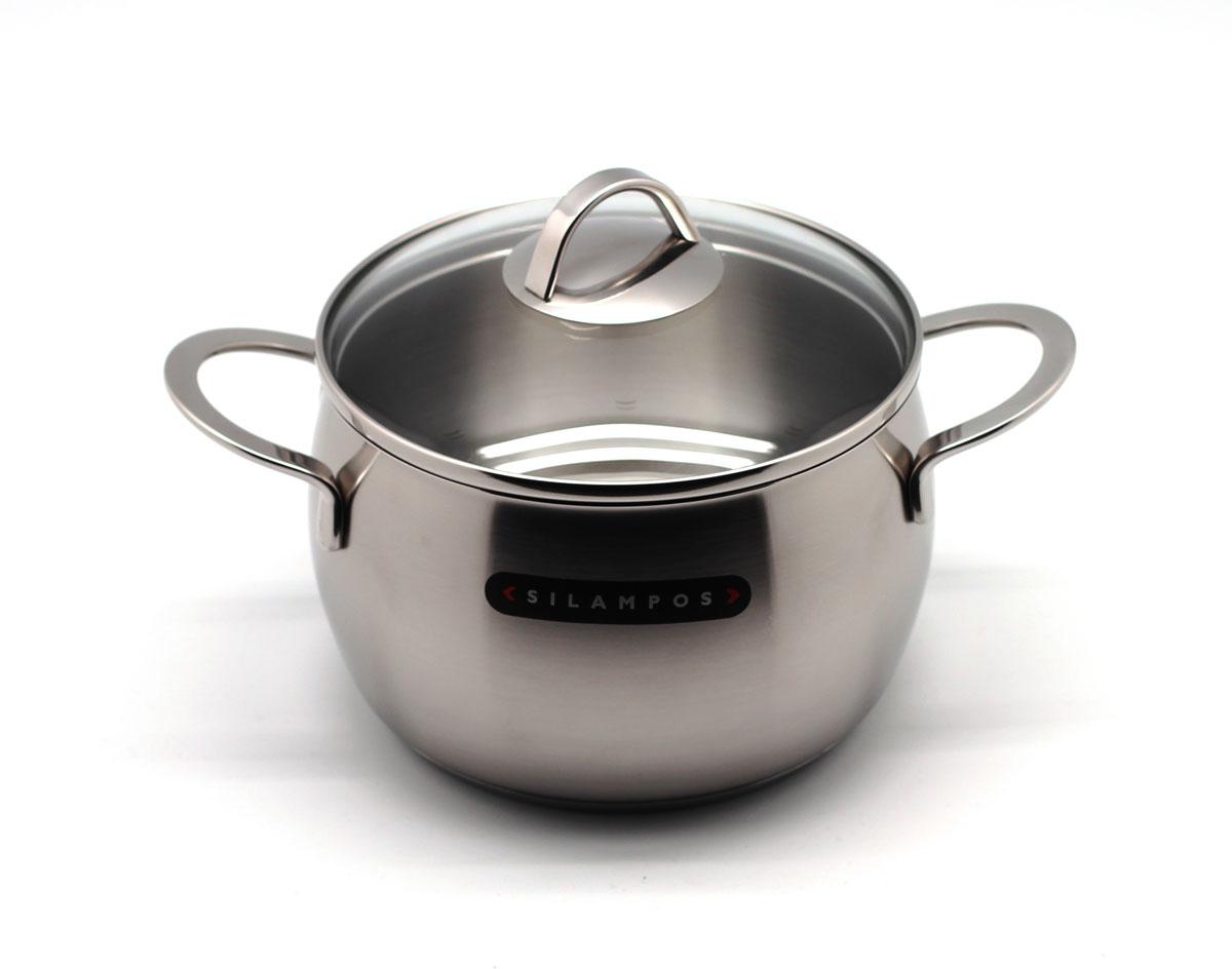 Кастрюля глубокая Silampos Океан, с крышкой, 3,3 л636124V86618Кухонная посуда Silampos удобна в применении и отличается современным дизайном. Подходит для использования всех видов плит. Посуда Silampos изготовлена из нержавеющей стали. Можно мыть в посудомоечных машинах с использование неабразивных чистящих средств. Крышки на посуде Silampos, изготовлены таким образом, что в процессе приготовления пищи плотно прилегают к верхней кромке изделия, ручки при этом не нагреваются и остаются холодными. Благодаря тройному дну с Impact Disc при использовании посуды Silampos не нужно устанавливать максимальный температурный режим, так как термическое дно распределяет тепло равномерно и эффективно по всей поверхности. Снимать посуду от источника тепла следует за несколько минут до завершения готовки, термическое дно продолжит нагревать пищу до завершения готовки. Пища приготовленная и оставленная в посуде Silampos остается теплой несколько часов. Пониженное энергопотребление посуды Silampos сэкономят Ваши деньги и время.Подходит для мытья в посудомоечной машине. Размер: 230 х 200 х 150 мм. Диаметр: 18 см. Объем: 3,3 л.