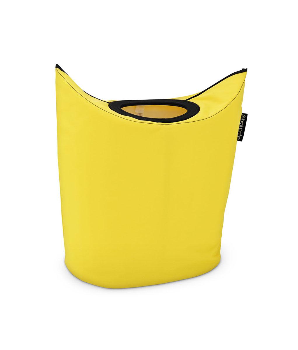 Сумка для белья Brabantia, овальная, цвет: желтый, 50 л. 101120101120Оригинальная сумка для белья экономит место и превращает вашу стирку в увлекательное занятие. С помощью складывающихся магнитных ручек сумка закрывается и превращается в корзину для белья с загрузочным отверстием. Собрались стирать? Поднимите ручки, и ваша сумка готова к использованию. Загрузочное отверстие для быстрой загрузки белья просто сложите магнитные ручки.Большие удобные ручки для переноски. Удобно загружать белье в стиральную машину - большая вместимость и широкое отверстие. 2 года гарантии Brabantia.