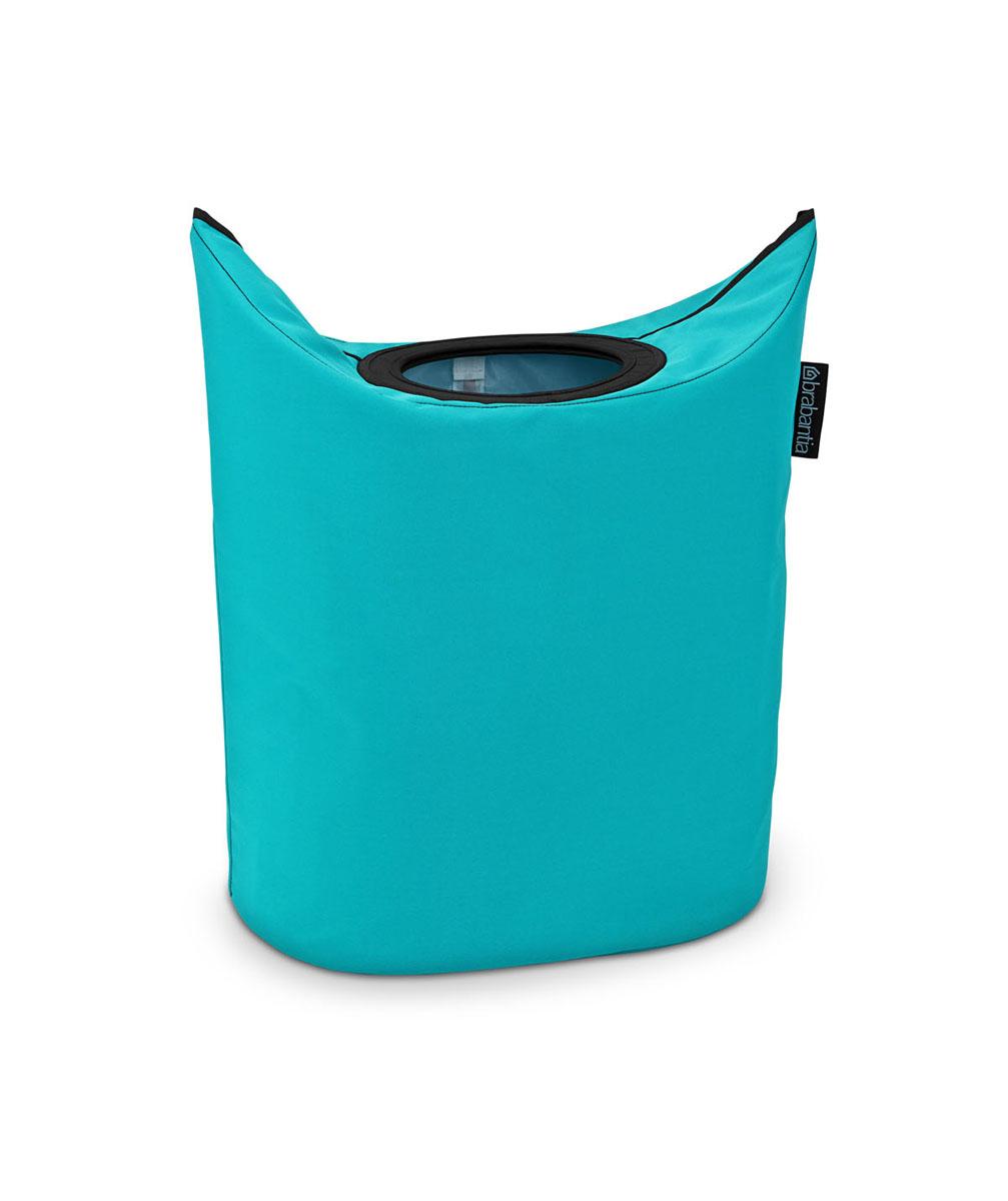 Сумка для белья Brabantia, овальная, цвет: бирюзовый, 50 л. 101182101182Оригинальная сумка для белья экономит место и превращает вашу стирку в увлекательное занятие. С помощью складывающихся магнитных ручек сумка закрывается и превращается в корзину для белья с загрузочным отверстием. Собрались стирать? Поднимите ручки, и ваша сумка готова к использованию. Загрузочное отверстие для быстрой загрузки белья просто сложите магнитные ручки.Большие удобные ручки для переноски. Удобно загружать белье в стиральную машину - большая вместимость и широкое отверстие. 2 года гарантии Brabantia.