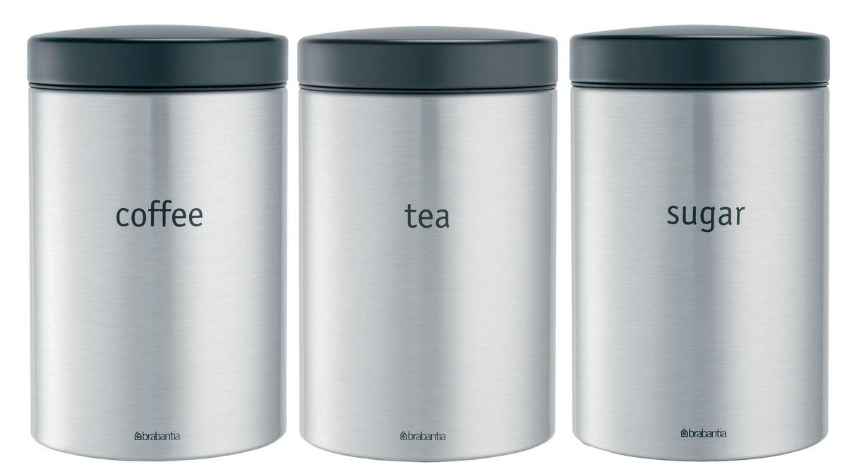 Набор контейнеров для сыпучих продуктов Brabantia, цвет: стальной матовый, 1,4 л, 3 шт. 314926314926Практичное решение для хранения сыпучих продуктов, позволяющее дольше сохранять их свежесть. Не пропускает запах и сохраняет свежесть – защелкивающаяся крышка. Всегда видно содержимое – окошко из антистатических материалов. Легко чистится – контейнер имеет гладкую внутреннюю поверхность. Изготовлен из коррозионностойкой крашеной или лакированной стали с защитным цинк-алюминиевым покрытием. Основание с защитным покрытием. Покрытие с защитой от отпечатков пальцев (FPP).