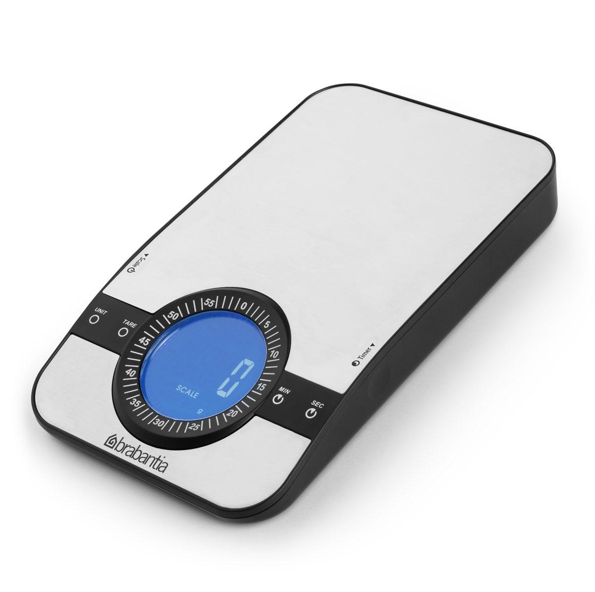Весы кухонные Brabantia, с таймером, цвет: стальной матовый. 480607480607Встроенный кухонный таймер. Большой предел взвешивания – 5000 г/11 фунтов. Четкая индикация показаний на дисплее. Цифровая система, обеспечивающая высокую точность измерений – дискретность шкалы 1г/1/8 унции. Можно выбрать следующие единицы измерения: граммы, фунты: унции, миллилитры и жидкие унции. Удобны и просты в использовании – кнопки: «сброс», «добавить», «взвесить». Удобная очистка – стеклянная поверхность. Готовы к использованию – поставляются с комплектом батарей (3xAAA).