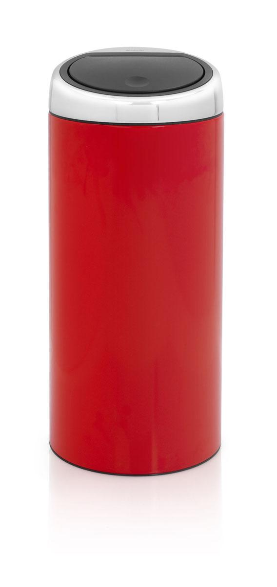 Бак мусорный Brabantia Touch Bin, цвет: красный, 30 л. 481086 brabantia мусорный бак touch bin new 40 л 72 7х43 5х30 см пламенно красный