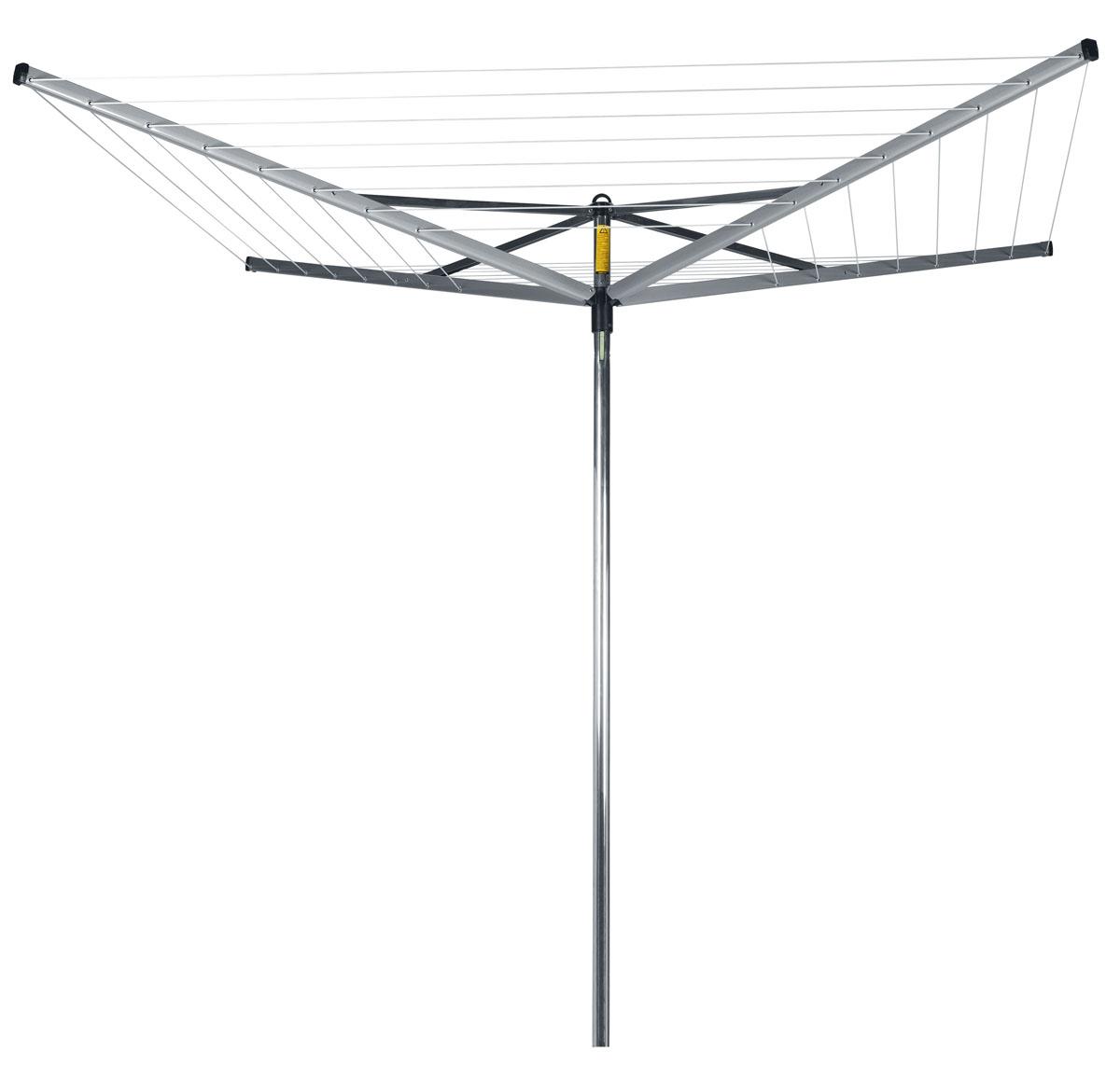 Сушилка для белья Brabantia Compact, уличная, цвет: серый, 40 м. 310669310669Навеска – 40 метров, максимальная нагрузка – 40 кг. Простой и удобный регулируемый зонтичный механизм сложения. Всегда туго натянутые веревки – регулировка натяжения в двух положениях. Бельевые веревки устойчивы к действию УФ и имеют нескользящий профиль. При необходимости удобная замена каждой веревки по отдельности. На всех направляющих предусмотрены специальные отверстия для плечиков. Удобна в хранении – прочная петелька для подвешивания. В комплекте: пластиковое основание для установки в грунт с закрывающимся отверстием (диаметр 35 см). Отдельно предлагается металлическое основание для установки в грунт, а также чехол.