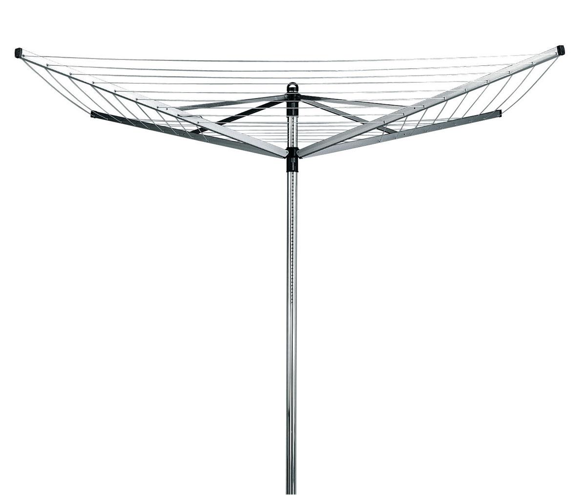 Сушилка для белья Brabantia Lift-O-Matic, уличная, цвет: серый, 40 м. 310928310928Навеска – 40 метров, максимальная нагрузка – 40 кг. Простой и удобный регулируемый зонтичный механизм сложения. Бесступенчатая регулировка на нужную высоту (129-187 см). Нет необходимости обходить сушилку – направляющие плавно поворачиваются. Всегда туго натянутые веревки – регулировка натяжения в трех положениях. Нижнее положение идеально подходит для сушки подушек. Бельевые веревки устойчивы к действию УФ и имеют нескользящий профиль. При необходимости удобная замена каждой веревки по отдельности. На всех направляющих предусмотрены специальные отверстия для плечиков. Удобна в хранении – прочная петелька для подвешивания. В комплекте: металлическое основание для установки сушилки (диаметр 45 см). Металлическое основание позволяет устанавливать сушилку без бетона. Отдельно предлагается пластиковое основание для установки в бетон, а также чехол.