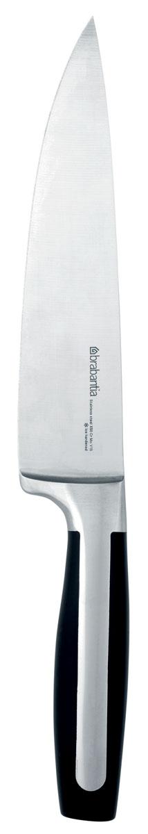 Нож поварской Brabantia Profile, цвет: стальной матовый, черный. 500008500008Нож остается острым долгое время – лезвие из стали холодной закалки. Повышенная коррозионная стойкость – хромомолибденованадиевая сталь (X50CRMOV15). Стойкость к царапинам. Простота в обращении – сбалансированный, эргономичный дизайн. Безопасный захват – специальная рукоятка. Бесшовные сцепления из твердых материалов – гигиеничность и удобство очистки.