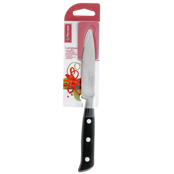 Нож для чистки овощей Rondell Langsax, длина лезвия 9 смRD-319Нож Rondell Langsax выполнен из высококачественной немецкой нержавеющей стали X30Cr13. Рукоятка, выполненная из черного бакелита со стальными креплениями, обеспечивает комфортный и легко контролируемый захват. Нож устойчив к коррозии и ржавчине, долго держит заточку, не выцветает и не теряет свой внешний вид с течением длительного времени. Короткое прямое лезвие прекрасно подходит для очистки от кожуры овощей и фруктов. Практичный и функциональный нож Rondell Langsax займет достойное место среди аксессуаров на вашей кухне.Нельзя мыть в посудомоечной машине. Характеристики: Материал: нержавеющая сталь X30Cr13, бакелит. Общая длина ножа: 20 см. Длина лезвия: 9 см. Посуда Rondell совсем недавно появилась на российском рынке, но ужепрекрасно себя зарекомендовала. Эту посуду по достоинству оценили тысячи любителейкулинарии, а рекомендации профессионалов - шеф-поваров многих ресторанов и ведущихпопулярных кулинарных программ служат дополнительным весомым аргументом в еепользу. Профессиональные технологии, изысканный дизайн и широкий ассортимент делаютпосуду Rondell исключительно привлекательной для всех, кто любит и умеет готовить.