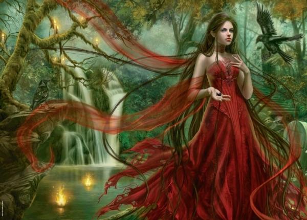 Девушка в красном. Пазл, 3000 элементов