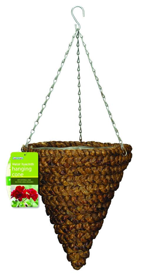 Корзина подвесная для цветов Gardman, диаметр 30 см. 0219502195Подвесная плетеная корзина Gardman в форме конуса изготовлена из водного гиацинта. Каркас выполнен из металла. Корзина уже оснащена специальной пленкой и полностью готова для посадки растений. Прекрасно подходит для цветов. Подвешивается с помощью специальной тройной металлической цепи с крючком.Кашпо часто становятся последним штрихом, который совершенно изменяет интерьер помещения или ландшафтный дизайн сада. Благодаря такому кашпо вы сможете украсить вашу комнату, офис или сад. Характеристики: Материал: металл, водный гиацинт. Диаметр корзины: 30 см. Высота корзины: 33,5 см. Товары для садоводства от Gardman - это вещи, сделанные с любовью, с истинно английской практичностью, основанной на глубоких традициях садоводства Великобритании. Эти товары широко известны садоводам Европы, США, Канады и Японии. Демократичные цены и продуманный ассортимент Gardman завоевал признательность и российского покупателя, достойного хороших, качественных вещей. В ассортименте Gardman есть практически все, что нужно современному садоводу - от совочка для рассады до предметов декора и ландшафтного дизайна.