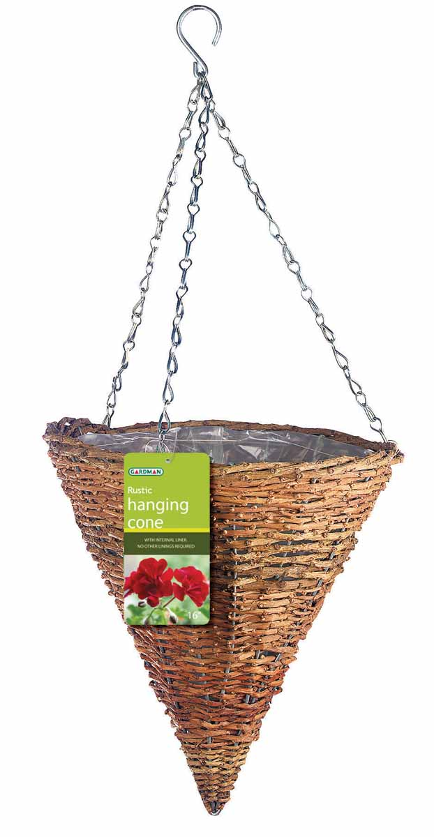 """Подвесная плетеная корзина """"Gardman"""" в форме конуса изготовлена из рустика. Каркас выполнен из металла. Корзина уже оснащена специальной пленкой и полностью готова для посадки растений. Прекрасно подходит для цветов. Подвешивается с помощью специальной тройной металлической цепи с крючком.Кашпо часто становятся последним штрихом, который совершенно изменяет интерьер помещения или ландшафтный дизайн сада. Благодаря такому кашпо вы сможете украсить вашу комнату, офис или сад.   Характеристики: Материал: металл, рустик. Диаметр корзины: 30 см. Высота корзины: 31 см. Товары для садоводства от Gardman - это вещи, сделанные с любовью, с истинно английской практичностью, основанной на глубоких традициях садоводства Великобритании. Эти товары широко известны садоводам Европы, США, Канады и Японии. Демократичные цены и продуманный ассортимент Gardman завоевал признательность и российского покупателя, достойного хороших, качественных вещей. В ассортименте Gardman есть практически все, что нужно современному садоводу - от совочка для рассады до предметов декора и ландшафтного дизайна."""