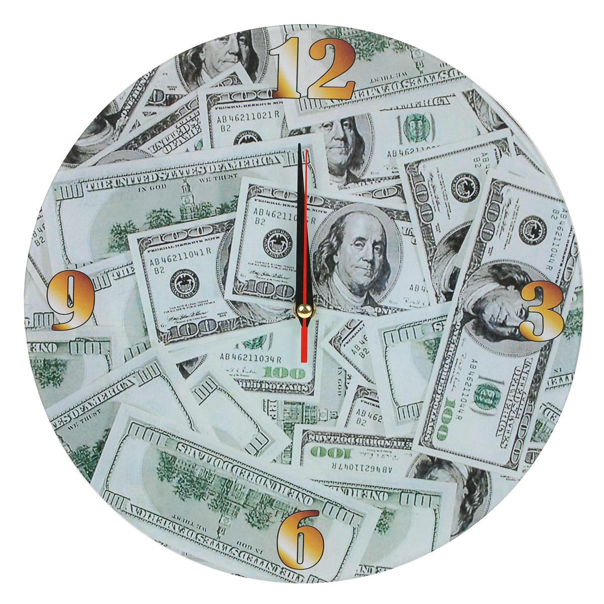 Часы настенные Доллары, стеклянные, цвет: зеленый. 9530595305Оригинальные настенные часы Доллары круглой формы выполнены из стекла и оформлены изображением долларов. Часы имеют три стрелки - часовую, минутную и секундную. Циферблат часов не защищен. Необычное дизайнерское решение и качество исполнения придутся по вкусу каждому.Оформите свой дом таким интерьерным аксессуаром или преподнесите его в качестве презента друзьям, и они оценят ваш оригинальный вкус и неординарность подарка. Характеристики:Материал: пластик, стекло. Диаметр: 28 см. Работают от батарейки типа АА (в комплект не входит).
