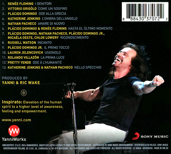 Yanni.  Inspirato Sony Music Entertainment, Inc.,Warner Music