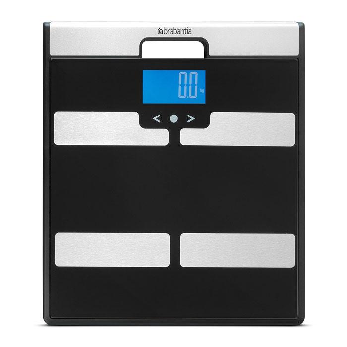 Весы для ванной комнаты Brabantia, с мониторингом веса, цвет: черный. 481949481949Комплексный контроль веса – содержания телесного жира, воды, мышечноймассы, индекс массы тела.В комплекте – журнал учета данных и батарейки.Высокая точность измерений, дискретность шкалы – 0,1 кг.Большой предел взвешивания – максимум 160 кг.Весы имеют широкую платформу и удобны в использовании.Отличная устойчивость – прочные защитные нескользящие колпачки.Весы имеют встроенную ручку и удобны в переноске.Внимание: весы нельзя использовать лицам, имеющим медицинскиеимплантаты (например, кардиостимуляторы)!Инструкция:1. Выберите свой персональный номер и введите в память необходимыеданные (возраст, пол, рост, физическую нагрузку). В памяти могут хранитьсяданные 8 пользователей.2. Встаньте на весы босыми ногами (автоматическое включение) и дождитесьвнесения в память данных о вашем весе.3. Через несколько секунд на дисплей будут выведены ваши физическиепоказатели – содержание телесного жира, воды, мышечная масса и индексмассы тела.4. Запишите полученные данные в журнал контроля своего физическогосостояния.