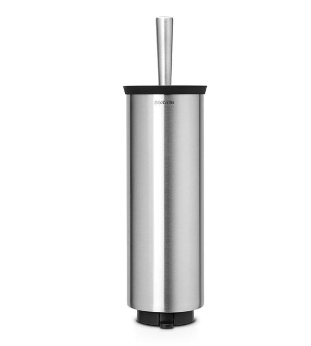 Ершик туалетный Brabantia Profile, с держателем, цвет: стальной матовый. 427183427183Ерш Brabantia Profile можно крепить к стене с помощью поставляемого в комплекте кронштейна. Так же изделие можно использовать и на полу, благодаря основанию с противоскользящими свойствами, которое предотвращает скольжение по плитке.Удобная и качественная очистка благодаря специальной форме ершика - идеальная чистота даже под ободом унитаза. Ершик эстетично спрятан под крышкой. Благодаря наличию съемного внутреннего стакана изделие гигиенично и удобно в очистке. Изделие легко снимается с настенного кронштейна для тщательной очистки поверхности стены.