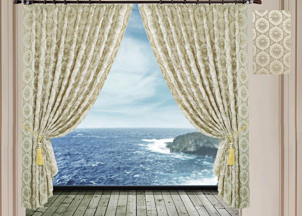 Комплект штор SL, на ленте, цвет: бежевый, высота 270 см. 94999499Роскошный комплект штор SL изготовлен из мягкого полиэстера с жаккардовым рисунком. Комплект состоит из двух светонепроницаемых полотен, благодаря чему они надежно защищают комнату от солнечного света днем и от уличного освещения вечером. По верхнему краю прошита плотная широкая шторная лента, для крючков. Рекомендации по уходу: - Ручная или машинная стирка при температуре не выше 40°С. - Разрешено гладить при максимальной температуре 110°С. - При стирке не использовать средства содержащие отбеливатели. - Химическая чистка запрещена.