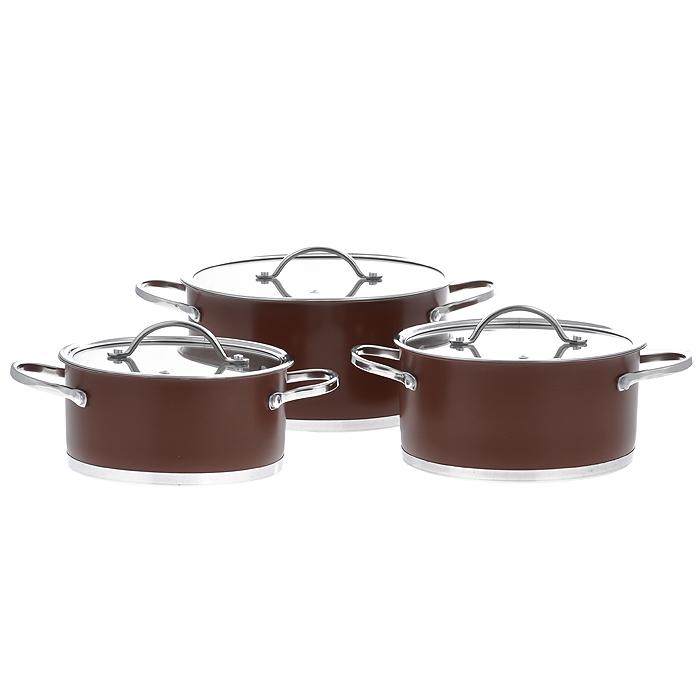Набор посуды Bohmann, цвет: коричневый, 6 предметов. 0614BH0614BHNEWНабор Bohmann состоит из 3 кастрюль разного объема с крышками. Изделия выполнены из высококачественной нержавеющей стали. Прочность, долговечность и надежность этого материала, а так же первоклассная обработка изделий обеспечивают практически неограниченный запас прочности и неизменно привлекательный внешний вид посуды. Внешнее покрытие коричневого цвета придает посуде особо эстетичный внешний вид. Идеально ровная внутренняя поверхность значительно облегчает мытье. Кастрюли имеют многослойное капсульное дно с алюминиевым основанием, которое быстро и равномерно накапливает тепло и так же равномерно передает его пище. Капсульное дно позволяет готовить блюда с минимальным количеством воды и жира, сохраняя при этом вкусовые и питательные свойства продуктов. Применение технологии многослойного дна создает эффект удержания тепла - пища готовится и после отключения плиты благодаря термоаккумулирующим свойствам посуды. Внутренние стенки имеют отметки литража. Изделия оснащены ненагревающимися ручками из нержавеющей стали. Крышки, изготовленные из термостойкого стекла, оснащены отверстием для выхода пара и стальным ободом. Такие крышки позволяют следить за процессом приготовления пищи без потери тепла.Благодаря особенному дизайну крышки, пар, образующийся в процессе приготовления, собирается в центре крышки и, конденсируясь, капает на дно кастрюли. Крышка и обод кастрюли имеют такую форму, что между ними образуется водное кольцо, предотвращающее испарение влаги и потерю вкусовых свойств продуктов. Диаметры кастрюль соответствуют общепринятым размерам конфорок бытовых плит.Посуда подходит для использования на всех типах плит, включая индукционные. Также изделия можно мыть в посудомоечной машине и хранить в холодильнике. Характеристики: Материал: нержавеющая сталь, стекло. Объем кастрюль: 2,1 л, 3 л, 5,2 л. Внутренний диаметр кастрюль: 18 см, 20 см, 24 см. Высота стенки кастрюль: 8,5 см, 9,5 см, 11,5 см. Толщи