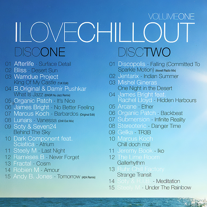 I Love Chillout.  Volume One (2 CD) MORE Music And Media,Концерн
