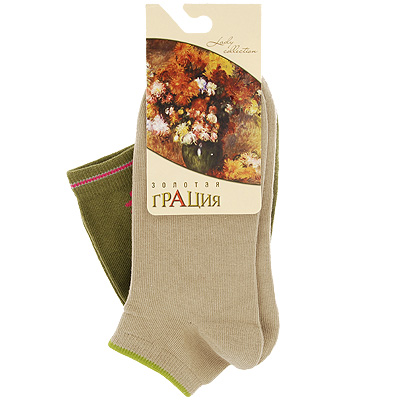 Комплект женских носков Золотая Грация, цвет: телесный, зеленый, 2 пары. М 1620-12-31. Размер 35/37 jd коллекция светло телесный 12 пар носков 15d две кости размер