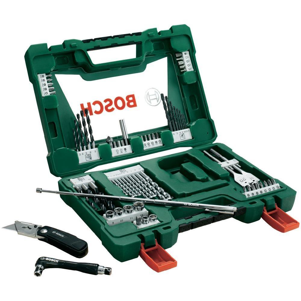 Набор принадлежностей Bosch V-Line, 68 предметов2607017191Набор инструментов Bosch V-Line предназначен для монтажа и демонтажа резьбовых соединений. Все инструменты в наборе изготовлены из высококачественной стали.Это необходимый предмет в каждом доме, набор станет незаменимым в Вашем хозяйстве.В набор входят:Сверла по металлу: 2, 2, 2,5, 3, 3, 4, 5, 6 мм;Сверла по дереву: 4, 5, 5,5, 5,5, 6, 6, 7, 8, 10 мм;Сверла по камню: 3, 4, 5, 6, 6, 7, 8, 10 мм;Перьевые сверла: 16 мм и 20 мм;Биты 25 мм: PH0, PH1, PH2, PH2, PH3;Биты 25 мм: PZ 0, PZ1, PZ2, PZ2, PZ3;Биты 25 мм: SL4, SL5, SL6, SL7;Биты 25 мм: T10, T10, T15, T15, T20, T20, T25, T30, T30, T40;Биты 25 мм: H3, H4, H5, H6;Торцовые головки: 6, 8, 9, 10, 11, 13 мм;Нож;Зенкер;Магнитный держатель;Двухсторонний держатель;Магнитный щуп (длина 65 см).