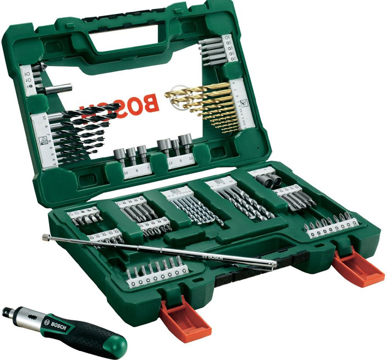 Набор принадлежностей Bosch V-Line, 91 предмет2607017195Набор инструментов Bosch V-Line предназначен для монтажа и демонтажа резьбовых соединений. Все инструменты в наборе изготовлены из высококачественной стали. Это необходимый предмет в каждом доме, набор станет незаменимым в Вашем хозяйстве. В набор входят: Сверла по металлу: 2, 2, 2,5, 3, 3, 4, 5, 6, 7, 8 мм; Сверла по дереву: 3, 4, 5, 5, 5,5, 5,5, 6, 6, 7, 8, 10 мм; Сверла по камню: 3, 4, 5, 6, 6, 7, 8, 10 мм; Биты 25 мм: PH0, PH0, PH1, PH1, PH2, PH2, PH3, PH3; Биты 25 мм: PZ0, PZ0, PZ1, PZ1, PZ2, PZ2, PZ3, PZ3; Биты 25 мм: SL3, SL5, SL5, SL7; Биты 25 мм: T10, T10, T15, T15, T20, T20, T25, T25, T30, T40; Биты 25 мм: H3, H5, H5, H6; Биты 50 мм: PH0, PH1, PH2, PH3; Биты 50 мм: PZ0, PZ1, PZ2, PZ3; Биты 50 мм: SL6; Биты 50 мм: T10, T15, T20, T25; Биты 50 мм: H5, H6; Торцовые ключи: 6, 7, 8, 9, 10, 11, 12, 13 мм; Зенкер; Магнитный держатель для бит; Магнитная ручка; Отвертка-трещотка.