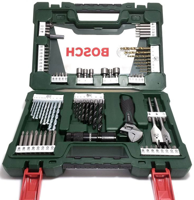 Набор принадлежностей Bosch V-Line, 83 предмета2607017193Набор инструментов Bosch V-Line предназначен для монтажа и демонтажа резьбовых соединений. Все инструменты в наборе изготовлены из высококачественной стали. Это необходимый предмет в каждом доме, набор станет незаменимым в вашем хозяйстве. В набор входят: Сверла по металлу: 2, 2, 2,5, 3, 3, 4, 5, 6 мм; Сверла по дереву: 3, 4, 5, 5,5, 5,5, 6, 6, 7, 8, 10 мм; Сверла по камню: 3, 4, 5, 6, 6, 7, 8, 10 мм; Перьевые сверла: 16 мм и 20 мм; Биты 25 мм: PH0, PH0, PH1, PH1, PH2, PH2, PH3, PH3; Биты 25 мм: PZ0, PZ0, PZ1, PZ1, PZ2, PZ2, PZ3, PZ3; Биты 25 мм: SL4, SL5, SL6; Биты 25 мм: T10, T10, T15, T15, T20, T20, T25, T25, T30, T40; Биты 25 мм: H4, H5, H6; Биты 50 мм: PH0, PH1, PH2, PH3; Биты 50 мм: PZ0, PZ1, PZ2, PZ3; Биты 50 мм: SL5; Биты 50 мм: T15, T20; Биты 50 мм: H5, H6; Раздвижной гаечный ключ; Торцовые головки: 6, 7, 8, 10, 12, 13 мм; Светодиодный фонарь; Зенкер; Магнитный держатель для бит.