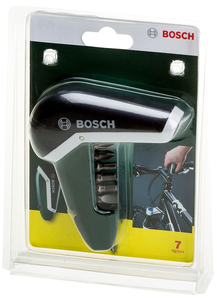 Отвертка карманная Bosch, 7 предметов2607017180Карманную отвертку Bosch удобно носить с собой, она не займет много места. В корпус вмещается 6 бит для монтажа и демонтажа крепежных соединений.