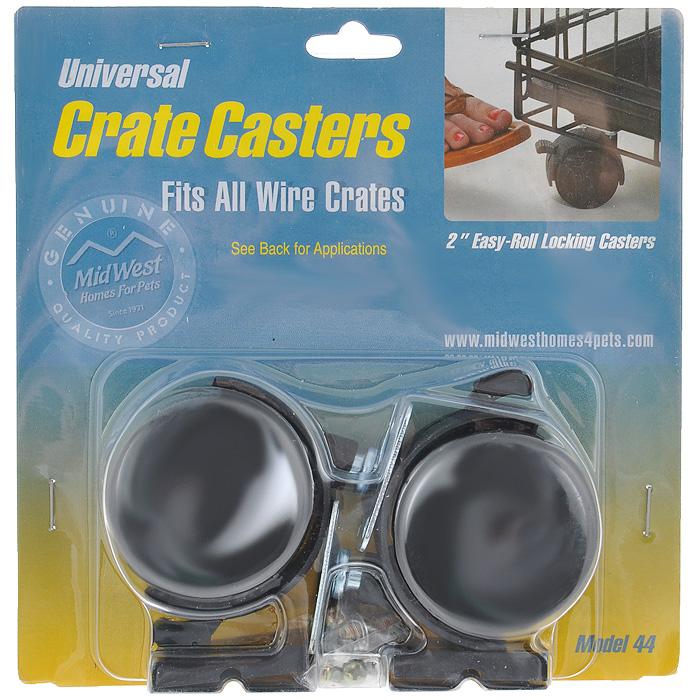 Колеса для клеток Midwest Universal Crate Caster, универсальные, 2 шт44Универсальные колеса для клеток Midwest Universal Crate Caster выполнены из прочного пластика и металла. Подходят для любых клеток Midwest. Рассчитаны на большую нагрузку, каждое колесо имеет блокировку хода и возможность поворота на 360°. В наборе 2 колеса и крепежные элементы.