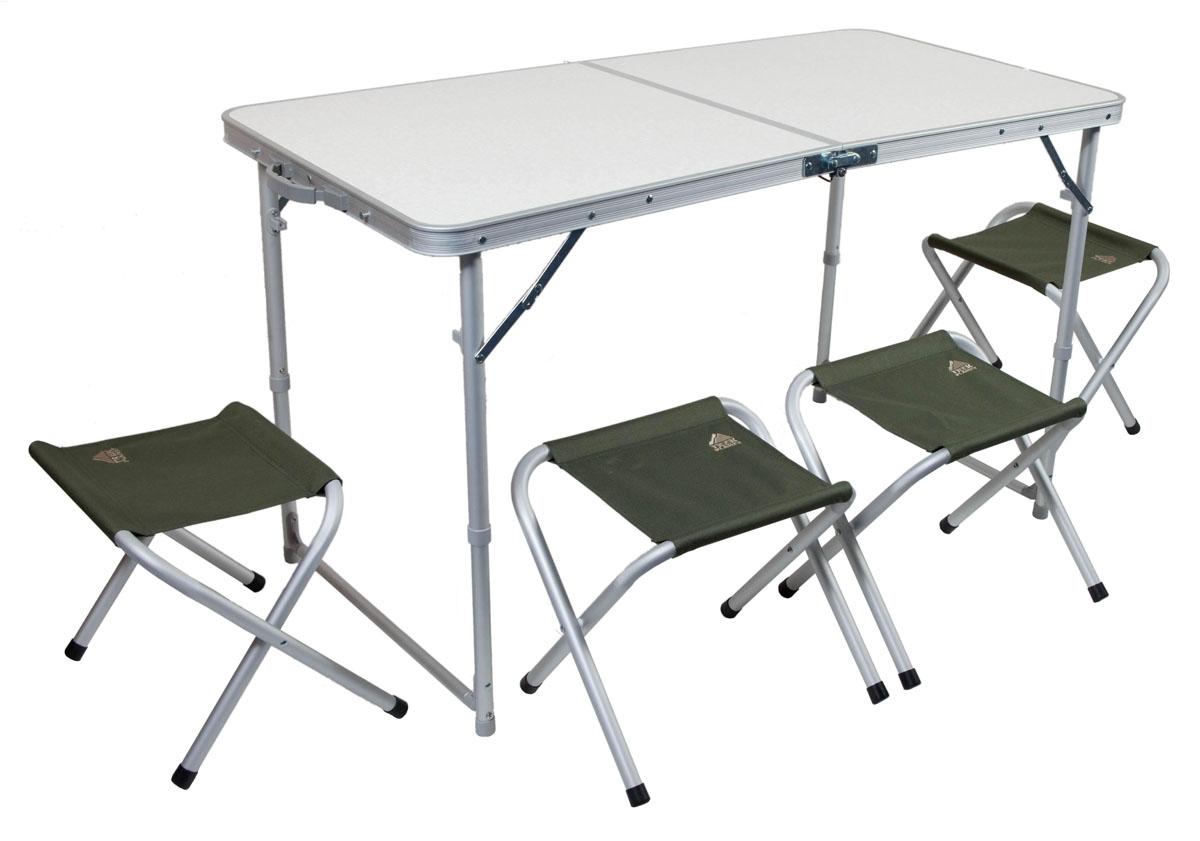 Набор мебелискладной TREK PLANET Event Set 120, кемпинговый, 120х60х70 см, алюм.70665 / TA-21407+FS-21124Комплект складной мебели для семейного отдыха на природе, состоящий из стола и 4-х стульев EVENT Set 120 не займет много места в машине.Если поверхность не очень ровная, высоту ножек стола можно слегка отрегулировать с помощью пластиковых шайб в основании каждой ножки.В собранном виде набор не занимает много места4 стула компактно складываются в стол, столешница складывается пополам в плоский чемоданчик с ручкой для переноски.- Набор включает стол и 4 стула- Регулируемая высота ножек стола- Стулья компактно складываются в стол- Регулируемвя высота ножек стола- Столешница из огнеупорного пластика- Набор компактно складывается в плоский чемоданчик с ручкой для переноски. Материал:Столешница: огнеупорный пластик.Рама: 22/25 мм алюминий с матовым покрытием.Размер стола в разложенном виде: 120 х 60 х 70 см.Размер стула в разложеннои виде: 41 х 29 х 34 см.Размер набора в сложенном виде: 60 х 7 х 60 см.Вес: 7,56 кг.Нагрузка на стол: 30 кг.Нагрузка на стул: 100 кг.Производство: Китай.Артикул: 70665.