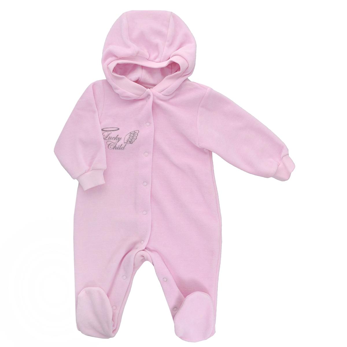 Комбинезон детский Lucky Child Ангелы, цвет: розовый. 17-3. Размер 74/80 комбинезон lucky child ангелочки розовый размер 24 74 80