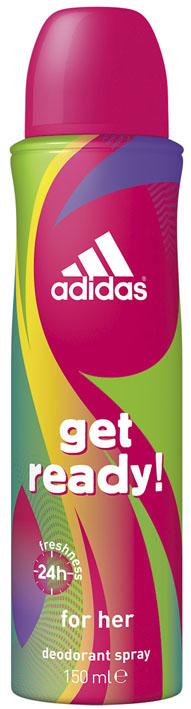 Adidas Дезодорант-спрей Get Ready!, женский, 150 мл34000936770Дезодорант-спрей Adidas Get Ready! для нее - это прекрасное сочетание ухода и защиты от пота. Легкий цветочно-фруктовый аромат, его яркое звучание придется по вкусу активным и жизнерадостным девушкам! Пирамида аромата:Верхние ноты: арбуз, гранат, бразильский апельсин. Ноты сердца: молекула Karmaflor, водяная лилия, сахарный бамбук. Базовые ноты: кедровые и мускусные ноты, амбра. Характеристики:Объем: 150 мл.Товар сертифицирован.