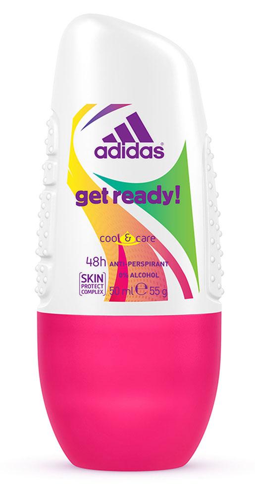 Adidas Дезодорант шариковый Get Ready! Cool & Care, женский, 50 мл34000936765Шариковый дезодорант-антиперспирант Adidas Get Ready! Cool & Care для нее - это прекрасное сочетание ухода за кожей и защиты от пота на 48 часов! Легкий цветочно-фруктовый аромат, его яркое звучание придется по вкусу активным и жизнерадостным девушкам!Не содержит спирт. Быстро сохнет. Минимизирует появление белых пятен на коже и одежде. Характеристики:Объем: 50 мл.Товар сертифицирован.