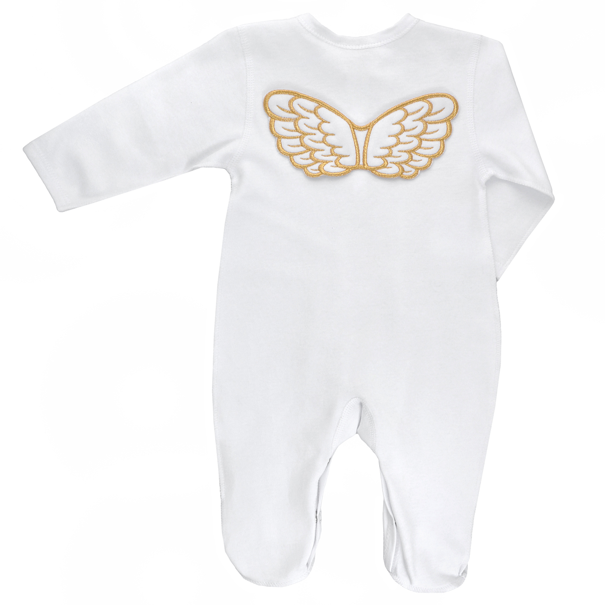 Комбинезон детский Lucky Child Ангелы, цвет: белый. 17-1. Размер 68/7417-1Детский комбинезон Lucky Child Ангелы - очень удобный и практичный вид одежды для малышей. Комбинезон выполнен из интерлока - натурального хлопка, благодаря чему он необычайно мягкий и приятный на ощупь, не раздражает нежную кожу ребенка и хорошо вентилируется, а эластичные швы приятны телу малыша и не препятствуют его движениям. Комбинезон с длинными рукавами и закрытыми ножками, выполненный швами наружу, имеет застежки-кнопки от горловины до щиколоток, которые помогают легко переодеть младенца или сменить подгузник.Комбинезон на груди оформлен надписью в виде логотипа бренда и изображением крылышек, а на спинке дополнен текстильными крылышками, вышитыми металлизированной нитью. С детским комбинезоном Lucky Child спинка и ножки вашего малыша всегда будут в тепле, он идеален для использования днем и незаменим ночью. Комбинезон полностью соответствует особенностям жизни младенца в ранний период, не стесняя и не ограничивая его в движениях!