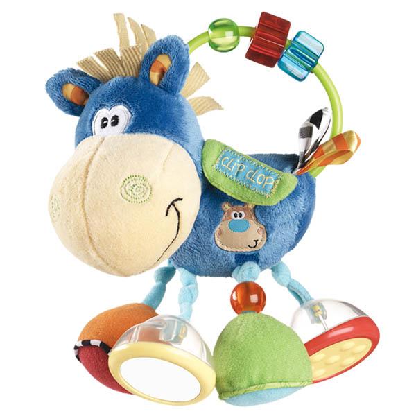 Игрушка-погремушка Playgro Ослик Клип Клоп, цвет: голубой playgro погремушка шар