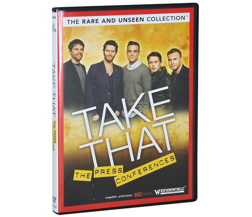 The next title in our Rare and Unseen series looks at Take That the BRIT award-winning English pop band consisting of Gary Barlow, Howard Donald, Jason Orange, Mark Owen and Robbie Williams. The band s dance-oriented pop tunes and soulful ballads dominated the UK charts in the first half of the 1990s, spawning two of the best selling albums of the decade with Everything Changes and Greatest Hits 1996. After a ten year hiatus, the band (minus Robbie Williams) reformed and made a massive comeback with several albums of new material and a UK Tour. One of the most successful UK boybands of the 1990s, Take That have sold over 65 million records to date. Told through missing-believed-wiped archive interviews and rare and unseen footage of the band talking, this insightful DVD is a worthy addition to any Take That collection. Items genuinely unseen and never before seen on DVD including film from the ITN archive. Includes lost and now restored TV interviews from the past and rare film of the band talking about their career. A must for the die-hard fan!Featuring: # Come Back Tour Press Conference Uncut - 25.11.05 Gary, Mark, Jason and Howard talking frankly about their hopes and aspirations for a reformed Take That, contemplating life without Robbie # 2011 Tour Press Conference Uncut - 26.10.10. No more rumours as the tour dates are announced and the show goes on! # Behind The Scenes Of Tv Interviews # Revealing Insights From The Band Themselves In Their Own Words.