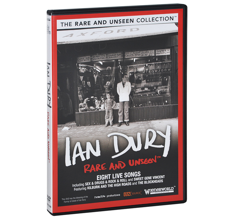 The fifth title of this exclusive and all new DVD collection for fans, we take an inside look at the British rock-n-roll singer, lyricist, bandleader and actor Ian Dury the man who rose to fame during the late 1970s, during the punk and New Wave era of rock music. Best known as the founder and lead singer of his band Ian Dury and the Blockheads, he released a host of seminal songs most notably Sex & Drugs & Rock & Roll, What A Waste and the UK chart-topping single Hit Me With Your Rhythm Stick. He toured extensively with his band over the years with the likes of Elvis Costello, Nick Lowe and Larry Wallis and released a dozen albums, with New Boots and Panties going platinum in 1977. After his death from liver cancer in 2000, Suggs, the singer with Madness, described him as ''possibly the finest lyricist we've seen.'' This brand new DVD release to coincide with the 10th anniversary of Dury s death is a collection of rare footage, featuring original film and videos of the singer, newsreels and photographs from private collections. Other Events to support release: The biopic Sex, Drugs & Rock & Roll was released in cinemas in January 2010, chronicling Dury s rise to fame, his battle with polio and the legacy he left behind. Featuring: The earliest known TV performance from the London Programme 1976 // Three great interviews with much missed Mancunian Tony Wilson who died in 2007 // Final Richard and Judy interview and live performance restored for widescreen // Includes EIGHT live musical performances with the Kilburns and the Blockheads: Sex & Drugs & Rock & Roll, Sweet Gene Vincent, Upminster Kid, Rough Kids, Billy Bentley, England's Glory, Blockheads and Geraldine.