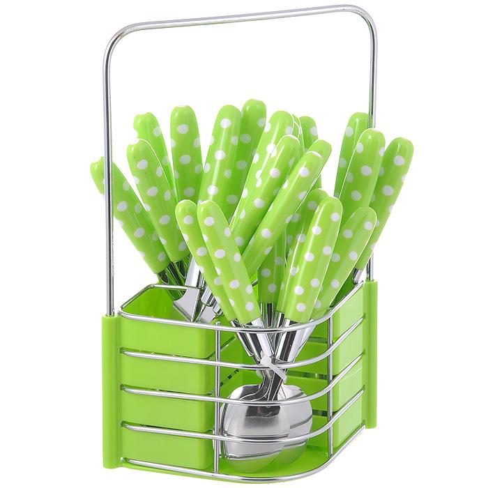 Набор столовых приборов Mayer & Boch, цвет: зеленый, 25 предметов. MN23239MN23239Набор столовых приборов Mayer & Boch выполнен из прочной нержавеющей стали. В набор входит 25 предметов: 6 обеденных ножей, 6 обеденных ложек, 6 обеденных вилок и 6 чайных ложек и подставка. Приборы имеют оригинальные удобные ручки с пластиковыми вставками зеленого цвета с рисунком в белый горошек. Прекрасное сочетание свежего дизайна и удобство использования предметов набора придется по душе каждому. Предметы набора расположены на подставке из стали и пластика с четырьмя секциями для каждого вида приборов. Подставка оснащена удобной ручкой для переноски. Набор столовых приборов Mayer & Boch подойдет для сервировки стола, как дома, так и на даче и всегда будет важной частью трапезы, а также станет замечательным подарком. Характеристики:Материал: нержавеющая сталь, пластик. Цвет: зеленый. Длина ножа: 21,5 см. Длина столовой ложки: 20,5 см. Длина вилки: 21 см. Длина чайной ложки: 16 см. Размер подставки (Д х Ш х В): 17,5 см x 13,5 см x 26 см.